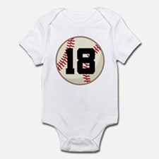 Baseball Player Number 18 Team Infant Bodysuit