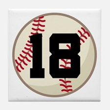 Baseball Player Number 18 Team Tile Coaster