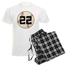 Baseball Player Number 22 Team Pajamas