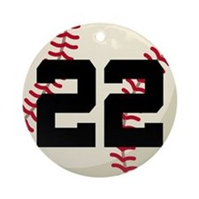 Baseball Player Number 22 Team Ornament (Round)