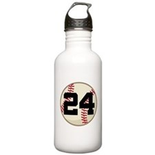 Baseball Player Number 24 Team Sports Water Bottle
