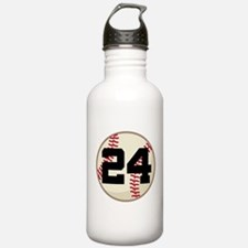 Baseball Player Number 24 Team Water Bottle