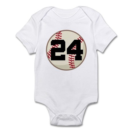 Baseball Player Number 24 Team Infant Bodysuit