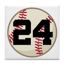 Baseball Player Number 24 Team Tile Coaster