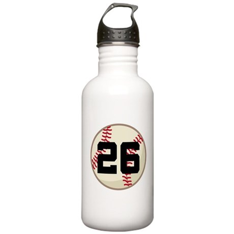 Baseball Player Number 26 Team Stainless Water Bot