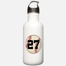 Baseball Player Number 27 Team Water Bottle