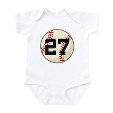 Baseball Player Number 27 Team Infant Bodysuit