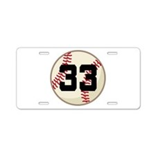 Baseball Player Number 33 Team Aluminum License Pl