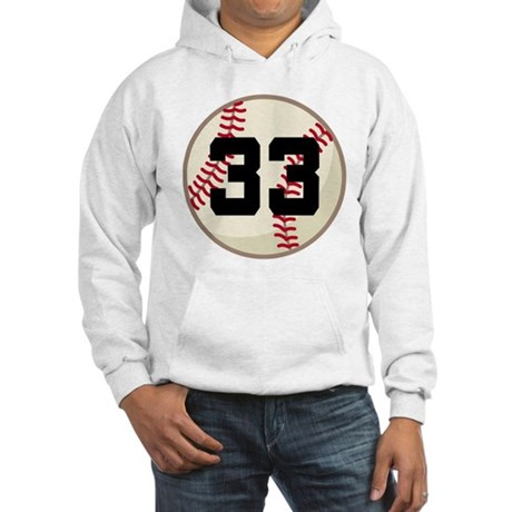 Baseball Player Number 33 Team Hooded Sweatshirt