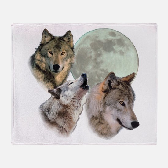 3 Wolf Moon Throw Blanket