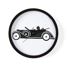 Racing Car and Roses Wall Clock