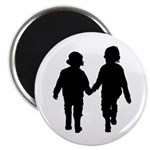 """Two Kids in Silhouette 2.25"""" Magnet (10 Pk)"""