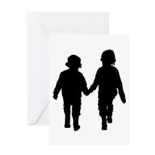Two Kids in Silhouette Greeting Card