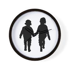 Two Kids in Silhouette Wall Clock