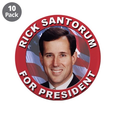 "Rick Santorum for President 3.5"" Button (10 pack)"