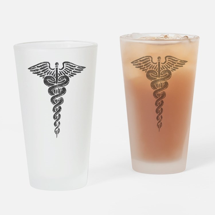 Vintage Caduceus Pint Glass
