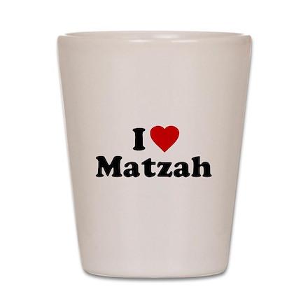 I Love [Heart] Matzah Shot Glass
