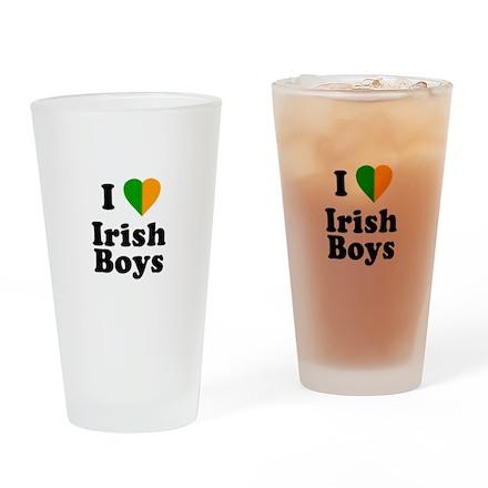 I Love Irish Boys Pint Glass