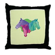 Crazy for Horses Throw Pillow
