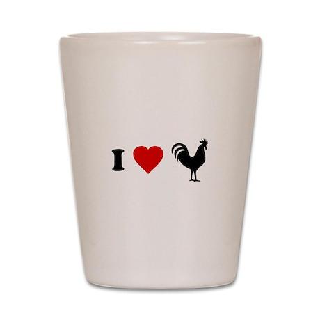 I Love [Heart] Cock Shot Glass