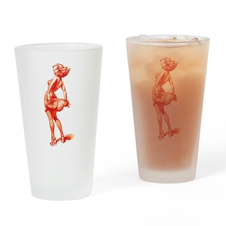 Vintage Pin Up Girl Pint Glass