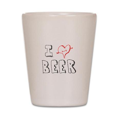 I Love Beer (Penciled) Shot Glass