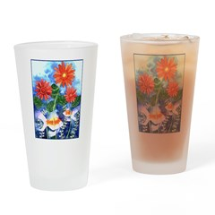 Fish and Flowers Art Drinking Glass