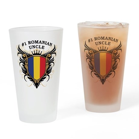 Number One Romanian Uncle Pint Glass