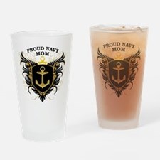 Proud Navy Mom Drinking Glass