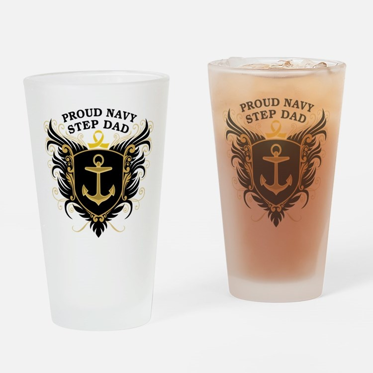 Proud Navy Step Dad Pint Glass