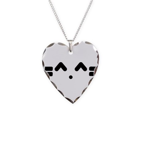 Kitty Cat Face Necklace Heart Charm