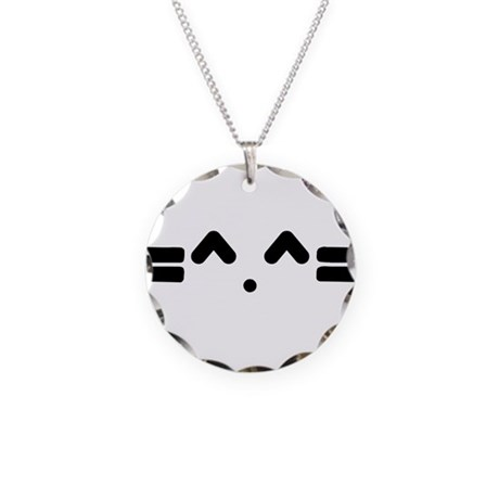 Kitty Cat Face Necklace Circle Charm