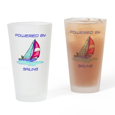 Powered By Sailing Drinking Glass
