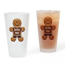 'Bite Me' Gingerbread Man Drinking Glass