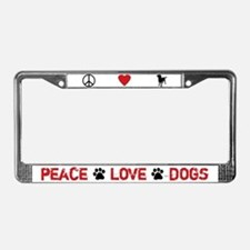 Peace Love Dogs License Plate Frame (White)