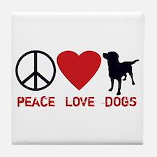 Peace Love Dogs Tile Coaster