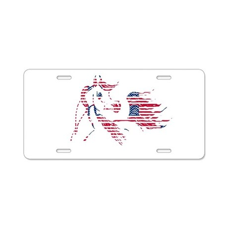 Patriotic Arabian Horse Aluminum License Plate