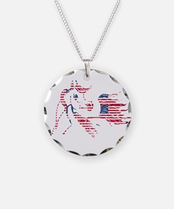 Patriotic Arabian Horse Necklace Circle Charm