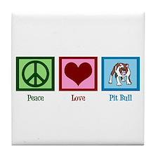 Peace Love Pit Bull Tile Coaster