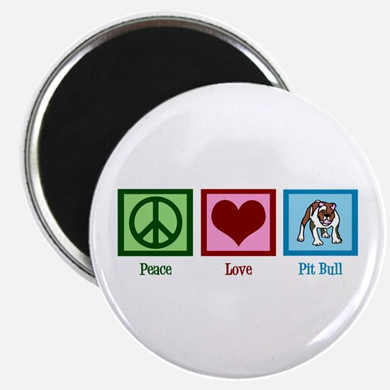 Peace Love Pit Bull Magnet