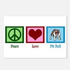 Peace Love Pit Bull Postcards (Package of 8)