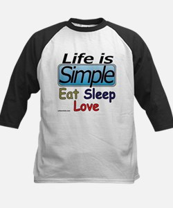 life is simple eat sleep love Kids Baseball Jersey
