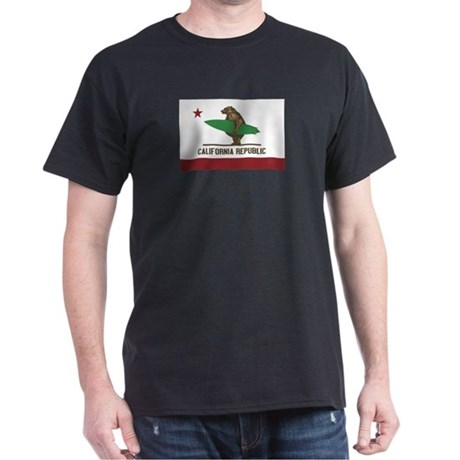 California Surfing Bear Flag Dark T-Shirt