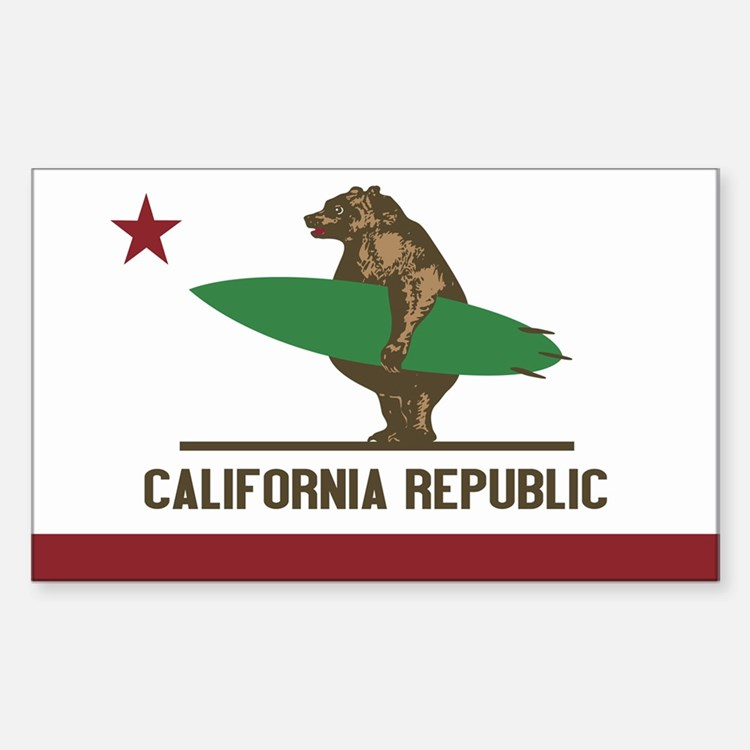 California Surfing Bear Flag Sticker (rectangle)
