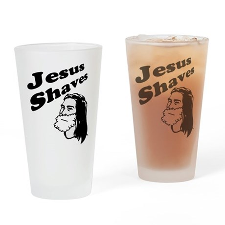 Jesus Shaves Pint Glass