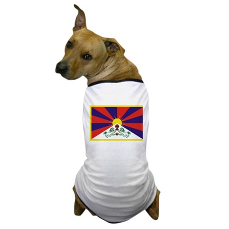 Tibetan Snow Lion Flag Dog T-Shirt