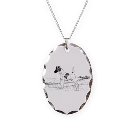 Smooth Fox Terrier Necklace Oval Charm