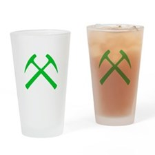 Crossed Rock Hammers (green) Pint Glass
