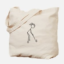 Golf Girl Black No Words Tote Bag