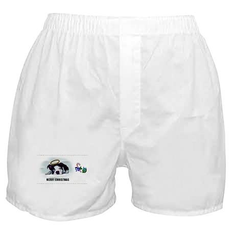 MERRY CHRISTMAS BOSTON TERRIER ANGEL Boxer Shorts